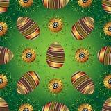Modèle vert sans couture de Pâques avec des oeufs Images libres de droits