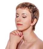 Modlenie kobieta odizolowywająca zdjęcie stock