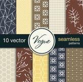 10 modèles sans couture à la mode de vecteur Blancs pour des cartes postales, tissu d'impression, fond pour le Web Mode soumise Photographie stock