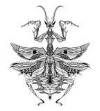 Modliszka tatuaż psychodeliczny, zentangle styl Zdjęcia Royalty Free