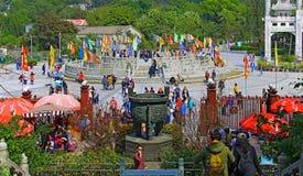 Modlitewna platforma przy tian dębnym Buddha, lantau, Hong kong Fotografia Royalty Free