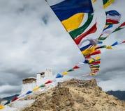 Modlitewny tibetan zaznacza blisko Namgyal Tsemo monasteru w Leh, los angeles Obraz Royalty Free
