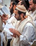 modlitwa Młody pielgrzymi hasid w tradycyjnym pióropuszu Rosh Hashanah wakacje, Żydowski nowy rok zdjęcia royalty free