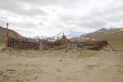 Modlitwa zaznacza przy przełęczem w Ladakh, India Zdjęcie Stock