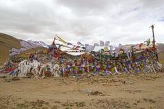 Modlitwa zaznacza przy przełęczem w Ladakh, India Obrazy Stock