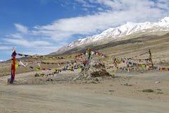 Modlitwa zaznacza przy Tso Moriri jeziorem w Ladakh, India Zdjęcia Stock