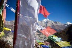 Modlitwa zaznacza w himalaje górach, Annapurna region, Nepal zdjęcie stock