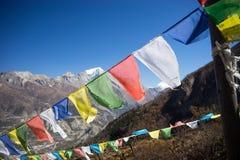 Modlitwa zaznacza w himalaje górach, Annapurna region, Nepal obraz stock