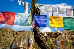 Modlitwy flaga przy Ladakh regionem Fotografia Royalty Free