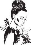 Modna dziewczyna w czerni royalty ilustracja