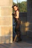 Modna dziewczyna w kot sukni Zdjęcie Stock