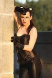 Modna dziewczyna w kot sukni Zdjęcie Royalty Free