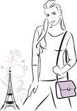 Modna dziewczyna z torebką Konturu rysunek Obraz Royalty Free