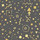 Modna geometryczna elementu Memphis karta Bezszwowy Memphis wzór dla tkanki i pocztówek również zwrócić corel ilustracji wektora Obrazy Stock