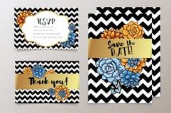 Modna karta z sukulentem dla ślubów, save daktylowego zaproszenie i dziękuje ciebie, RSVP royalty ilustracja