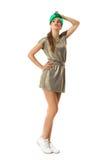 Modna kobieta W Złocistej Mini sukni Zdjęcia Royalty Free