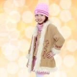 Modna mała dziewczynka w futerkowym żakiecie Zdjęcie Royalty Free