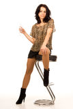 Modna partyjna dziewczyna z szkłem szampan Zdjęcie Stock