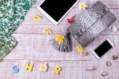 Modna piękna snakeskin pytonu torebka, odgórny widok, drewniany tło Luksusu set, siwieje torbę, smartphone, pastylka komputer oso Obrazy Stock