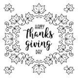 Modna Szczęśliwa dziękczynienie dnia karta, jesieni rama, literowanie, liście klonowi Zdjęcie Royalty Free