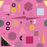 Modne geometryczne elementu Memphis karty, bezszwowy wzór Retro stylowa tekstura Nowożytny abstrakcjonistyczny projekta plakat, p Obrazy Stock