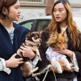 Modne kobiety pozuje podczas Mediolańskiego kobiety ` s Fasonują tydzień Obraz Royalty Free