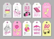 Modne modniś etykietki z Retro moda elementami ręka patroszona ilustracji