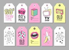 Modne modniś etykietki z Retro moda elementami ręka patroszona royalty ilustracja