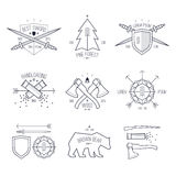 Modne odznaki w cienkim kreskowym stylu Fotografia Royalty Free