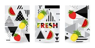Modne owoc wzoru pokrywy ustawiać również zwrócić corel ilustracji wektora Obraz Stock
