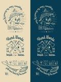 Modne Retro rocznik insygnie - odznaki wektorowy ustawiający z czaszką Obrazy Royalty Free