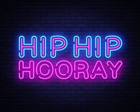Modnego biodro neonowego teksta projekta wektorowy szablon Hooray Modny biodro neonowy logo Hooray, lekkiego sztandaru projekta e royalty ilustracja