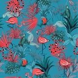 Modnego retro lata Tropikalni kwiaty, palma opuszczają, dżungli roślina ilustracji