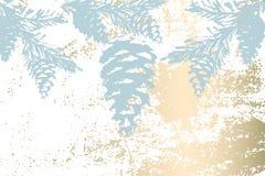 Modnego zima pastelowego złocistego druku braches botaniki sosnowy projekt zdjęcie royalty free
