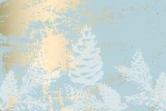 Modnego zima pastelowego złocistego druku braches botaniki sosnowy projekt zdjęcie stock