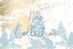 Modnego zima pastelowego złocistego druku braches botaniki sosnowy projekt obraz royalty free