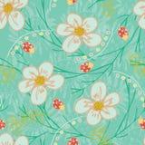 Modnej bezszwowej wektorowej powtórki ogródu kwiecisty wzór z kwiatami i liśćmi w zieleni, brzoskwinia, złoto, biel, kolor żółty, ilustracja wektor