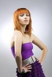 modnej dziewczyny z włosami czerwień Zdjęcia Stock