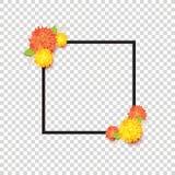 Modnej wiosny wektoru ramy kwiecisty szablon z kolorem żółtym i orang Fotografia Stock