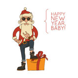Modniś Święty Mikołaj z elegancką brodą i okularami przeciwsłonecznymi Obrazy Stock