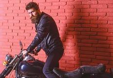 Modniś, brutalny rowerzysta na poważnej twarzy w skórzanej kurtce dostaje na motocyklu Mężczyzna z brodą, rowerzysta w skórzanej  zdjęcia stock