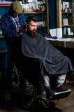 Modniś fryzury pojęcie Modnisia klient dostaje ostrzyżenie Fryzjer męski z włosianym cążki pracuje na ostrzyżeniu brodaty facet obrazy royalty free