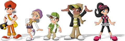 Modniś kreskówki młodzi ludzie Fotografia Stock