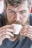 Modniś pije kawę zamkniętą w górę Kofeina podładowywa Mężczyzna z brodą, wąsy i filiżanka kawy Brodaty facet cieszy się obrazy stock