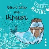 Modniś pocztówka z kreskówka brodatym morsem z tatuażami również zwrócić corel ilustracji wektora Zdjęcia Royalty Free