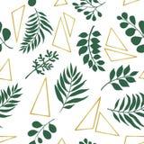 Modni egzotów liście i złociści elementy bezszwowy wzoru ilustracja wektor