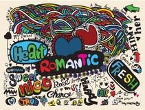 Modniś miłość doodles tło, rysuje styl Fotografia Royalty Free