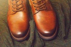 Modni rzemienni buty, pulower Obraz Stock