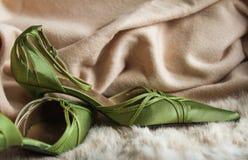 Modni zieleni kobiety przyjęcia palec u nogi buty Obraz Stock