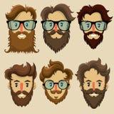 Modnisiów charaktery, subkultura, retro fryzura, brodate twarze Fotografia Stock